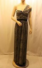 NEW BCBG MAX AZRIA MISTY MORNING COMBO ONE SHOULDER GOWN VXE6N389/L140 SIZE 4