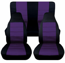 Jeep wrangler TJ blk/purple  Front+Rear car seat covers,OTHER COLORS&ITEMS AVBL