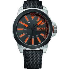 New Hugo Boss Orange Mens Stainless Steel, Black Leather Strap