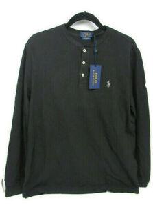 Polo Ralph Lauren Mens Featherweight Henley Mesh Shirt Black Sz M Medium