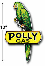 """LEFT FACING 12"""" POLLY GASOLINE LUBSTER PROJECT DECAL GAS OIL CAN PUMP STICKER"""