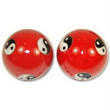 Chinese Cloisonne Health Exercise Stress Baoding Balls Ying Yang Red Color S3580