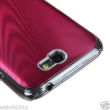 Samsung Galaxy Note II 2 BRUSHED ALUMINUM BACK COVER HYBRID CASE RED