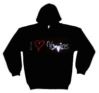 I LOVE VAMPIRES gothic RHINESTUD  HOODY  HOODIES (any size)