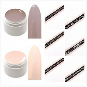 2x 5ml Pastell UV Led Farbgel Nude Amber / Satin Color Gel Muse of Ligh +Sticker