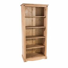 Quality Tall Deep Bookcase 5 Shelves Living Room Corona Mexican PIne Furniture