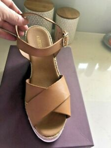 CARVELA TAN LEATHER SUMMER WEDGE SHOES SIZE 40 BRAND NEW WITH BOX