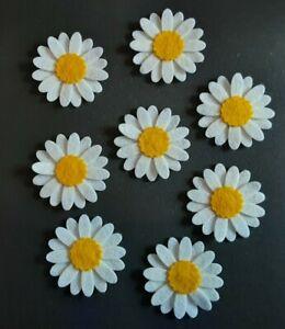 × 8 Felt Flower Embellishments. Die cuts. White daisy's. Die cut flowers
