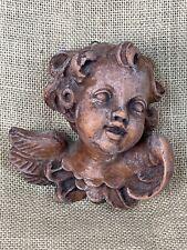 Hand Carved Wood Putti Cherub Angel Head 5 x 5