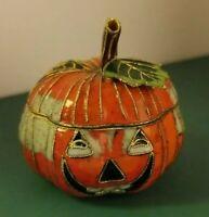 Vintage Enamel JACK-O-LANTERN JOL Pumpkin Enamel HALLOWEEN Collectab Trinket Box