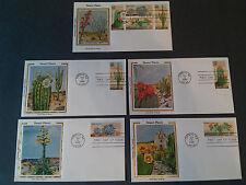 5 Colorano Silk 1st Day Covers 1981 Desert Plants (20 c) Block 4 +4 Singles