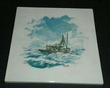 Hand Painted Large Ceramic Tile Nautical Sailing Fishing Boat Ocean Decor 8 inch