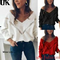 Women Loose Knitted Pullover Jumper Sweater Casual Hollow Top V Neck Long Sleeve