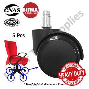 Office Chair - Caster PU Rubber Wheel - Heavy Duty - BIFMA - Black - Set of 5