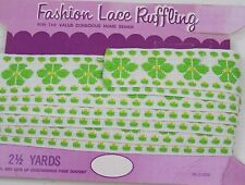 2 + Yards * Bright Green Daisy Lace Trim Embroidery * Upholstery Crafts Sewing