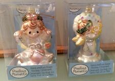 Precious Moments Kurt Adler Angel Ornaments 2 Glass New In Box 2004