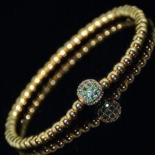 Men's 4MM Zircon Beads 8MM Green Crystal on Gold Disco Ball Beaded Bracelet