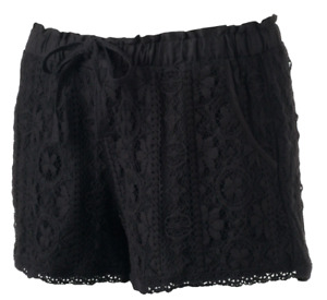 Women's Juniors' REWIND Lace Shorts Black 3-in (OXFORD) Cotton, MSRP: $40  -NEW-