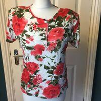vintage nina hazan size 12 M white pink floral button dwon top