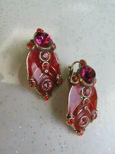 """Boucles d'oreilles vintage """"TARATATA"""", émail rouge, cristaux swarovski fuchsias"""