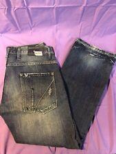 Mens VIGOSS 36X33 Distressed Jeans Outter Pockets Blue Cotton