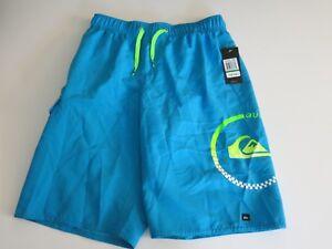 Quiksilver Boys L Board Swim Trunks Shorts Mesh Lined Turquoise Blue w/Logo
