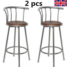 2 pcs Bar Stools Bistro Seat Cafe Pub  Seater Breakfast Brown Steel High Chair