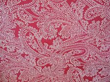 RED COTTON TAPESTRY CREAM STITCHED  PAISLEY UPHOLSTERY FABRIC