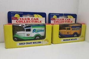 MATCHBOX MODEL 1995 NBL CLUB CAR, GOLD COAST ROLLERS BRISBANE BULLETS PAIR