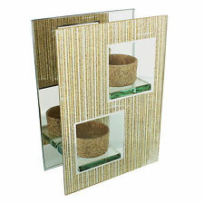 Hestia Gold Glitter Mirror and glass Double T Light holder square HE483
