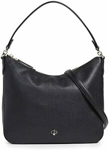 $298 KATE SPADE MEDIUM POLLY LEATHER SHOULDER BAG BLACK