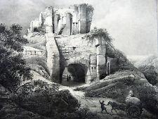 CHÂTEAU ARQUES Lithographie Engelmann Alaux VOYAGE PITTORESQUE Taylor NORMANDIE