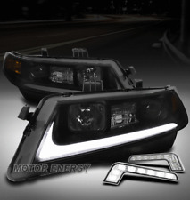 FOR 04-08 ACURA TSX CL9 LED TUBE PROJECTOR BLACK/SMOKE LENS HEADLIGH +DRL SIGNAL