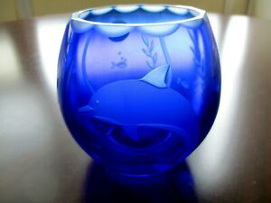 "Lenox Cobalt Blue Cut Crystal 4.5"" Etched Dolphin Vase Votive"