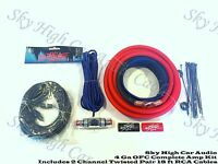 Oversized 4 Ga OFC AWG Amp Kit Twisted RCA Red Black Complete Sky High Car Audio