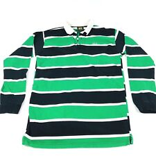 Drunknmunky Long Sleeve Shirt Mens Size Large Green and Black Striped Retro Rare