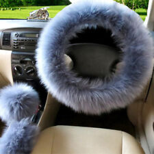 Universal 3X Furry Wool Car Steering Wheel Cover Knob Brake Protector Stone Blue