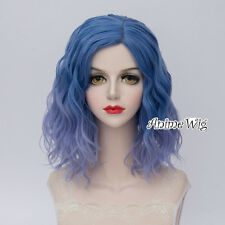 35CM Lolita Women Party Blue Ombre Curly Synthetic Cosplay Wig Heat Resistant