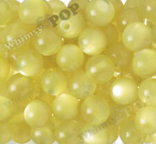 20mm 12pcs Yellow Cat's Eye Beads Chunky Acrylic Round Gumball Bubble Gum Bead