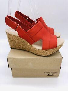 Clarks Women's Annadel Ivory Adjustable Wedge Sandals Red Nubuck , choose size