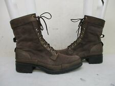 TIMBERLAND Brown Canvas Leather Lace Waterproof Boots Women Sz 9.5 M Style 55362