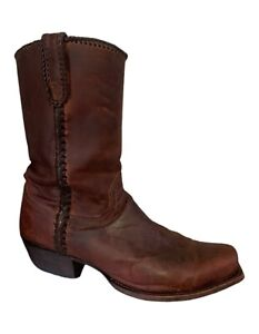 Lucchese Boots Brown M2601 Braided Leather Lucchese Cowboy Boots - Men's 10.5EE