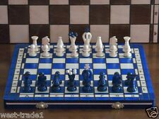 Brand New ♞Hand Crafted Wooden Blue Chess And Draughts Set 36cm x 36cm ♖