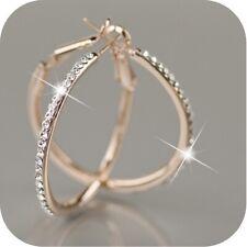 Yellow Gold Cz Earring Hoop Earrings Dazzling 56mm Women Fashion 925 Solid 18k