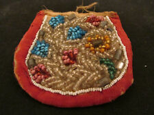 S38 antique vintage native american bead work pouch watch holder coin purse