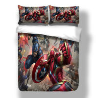 Avengers Superhero Duvet Cover with Pillow Cases Cartoon Quilt Cover Bedding Set