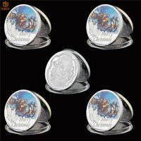 5Pcs 2019 Merry Christmas Santa Claus And Deer Silver Souvenir Coin Holiday Gift
