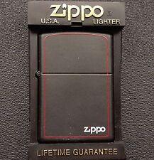 Zippo 1999 Black Red Accents Trim Border Zippo Unstruck Lighter w/ Logo & Case