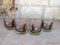Vtg Set of 4 Double Old Fashioned Glasses Barware Men On Bench Playing Golf