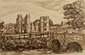 Cowdray Ruins Midhurst by Adrian Hill Print 1947